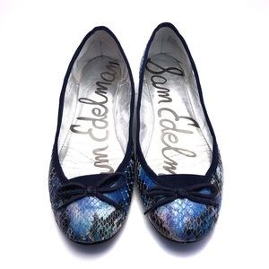 Sam Edelman Snakeskin Blue Ballet Flats